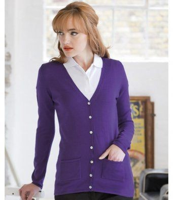 8ee2792966 Up To 60% OFF H723 Henbury Ladies Cotton Acrylic V-Neck Cardigan Available  To Buy Today