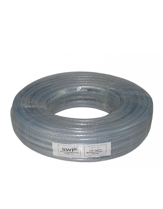 "Clear Braided Argon Hose 1/4"" PER METRE"