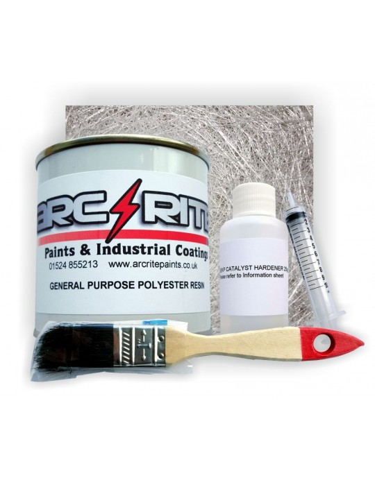 Fibre Glass GRP Resin Repair Kit - Includes Matting, Resin, Brush
