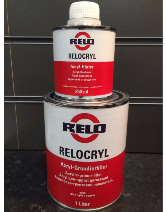 RELO 2k High Build Primer Filler 1 Litre with 250ml Fast Hardener 5:1